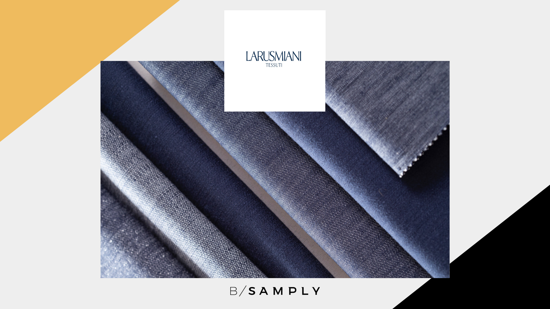 Article Cover for LARUSMIANI by Clerici Tessuto, Featuring Multiple Blue Woven Textiles