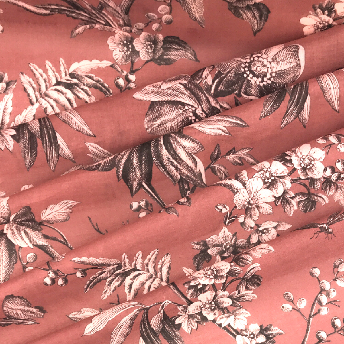 Muted Red Floral Printed Woven Textile by Beach & Body by Clerici Tessuto
