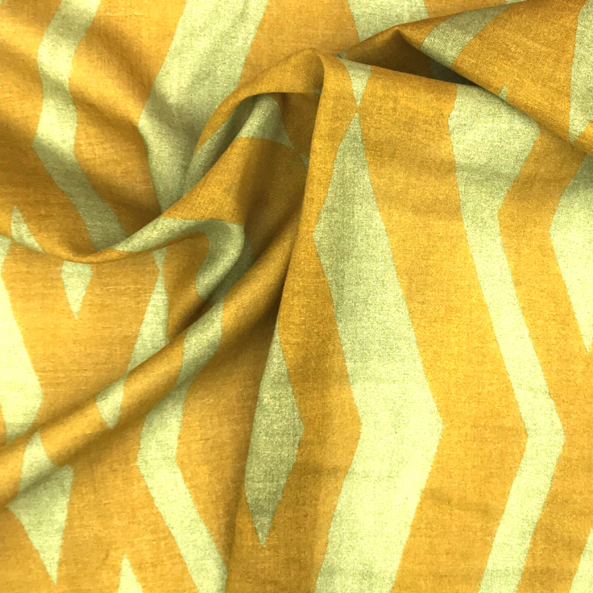 Yellow and Gold Zig Zag Printed Woven Textile by Beach & Body by Clerici Tessuto