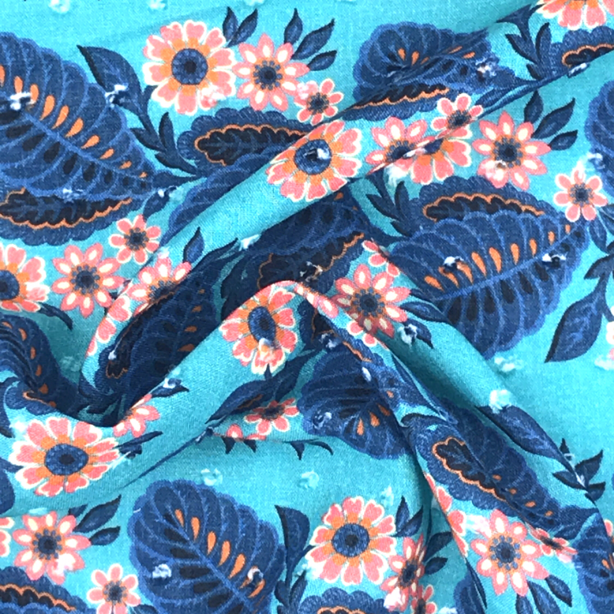 Bright Blue, Navy Blue, Coral and White Tropical Floral Printed Textile by Beach & Body by Clerici Tessuto
