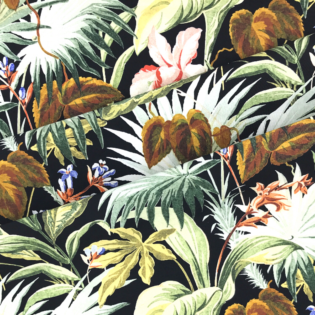Black Based Green, Orange, and White Tropical Floral Woven Textile by Beach & Body by Clerici Tessuto