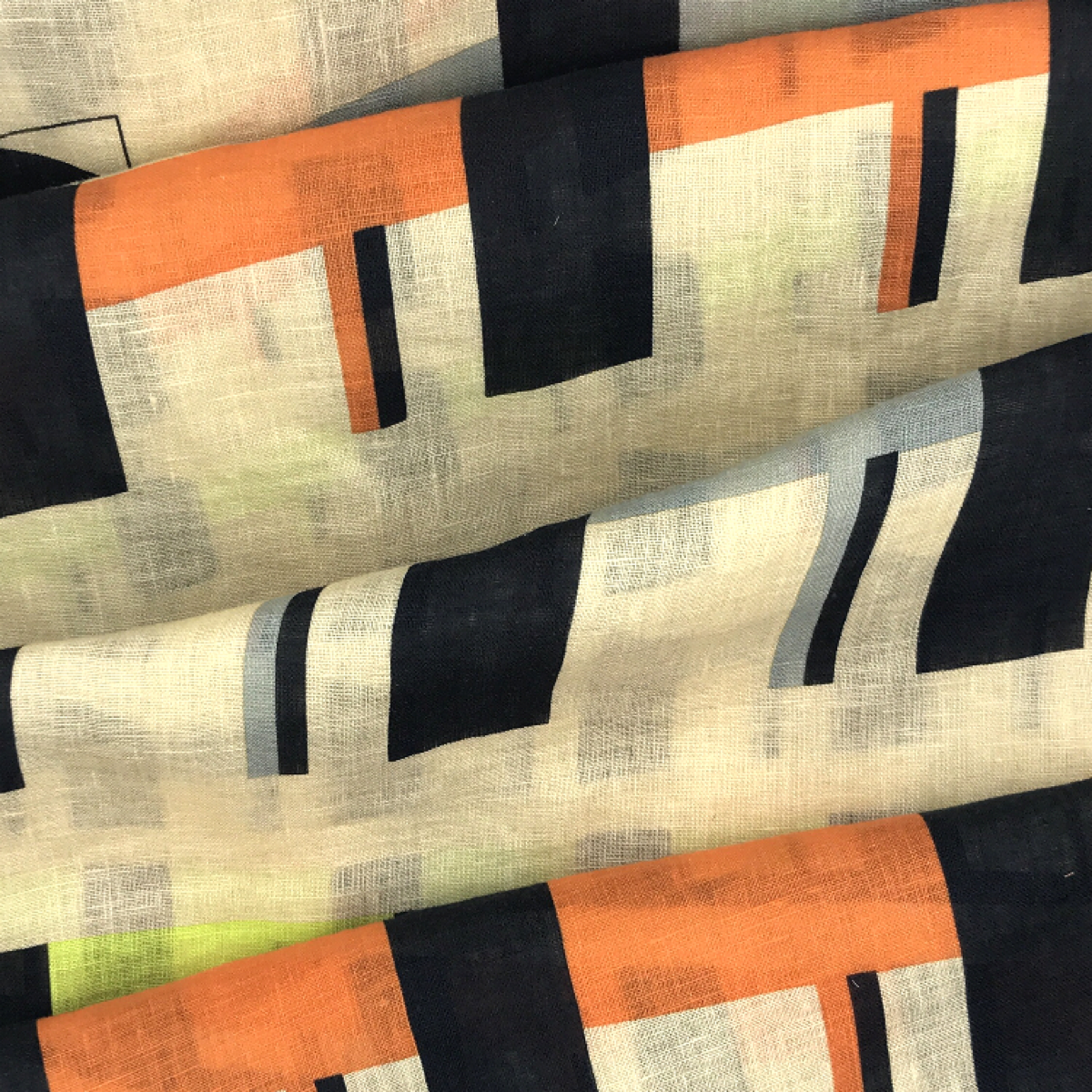 Abstratc Neutral, Orange, Yellow and Grey Printed Woven Textile by Beach & Body by Clerici Tessuto