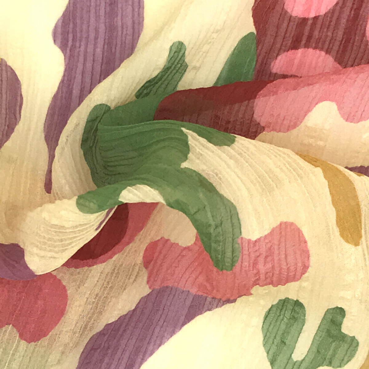 Pastel Yellow, Green, Purple, and Pink Printed Fine Woven Textile by Beach & Body by Clerici Tessuto