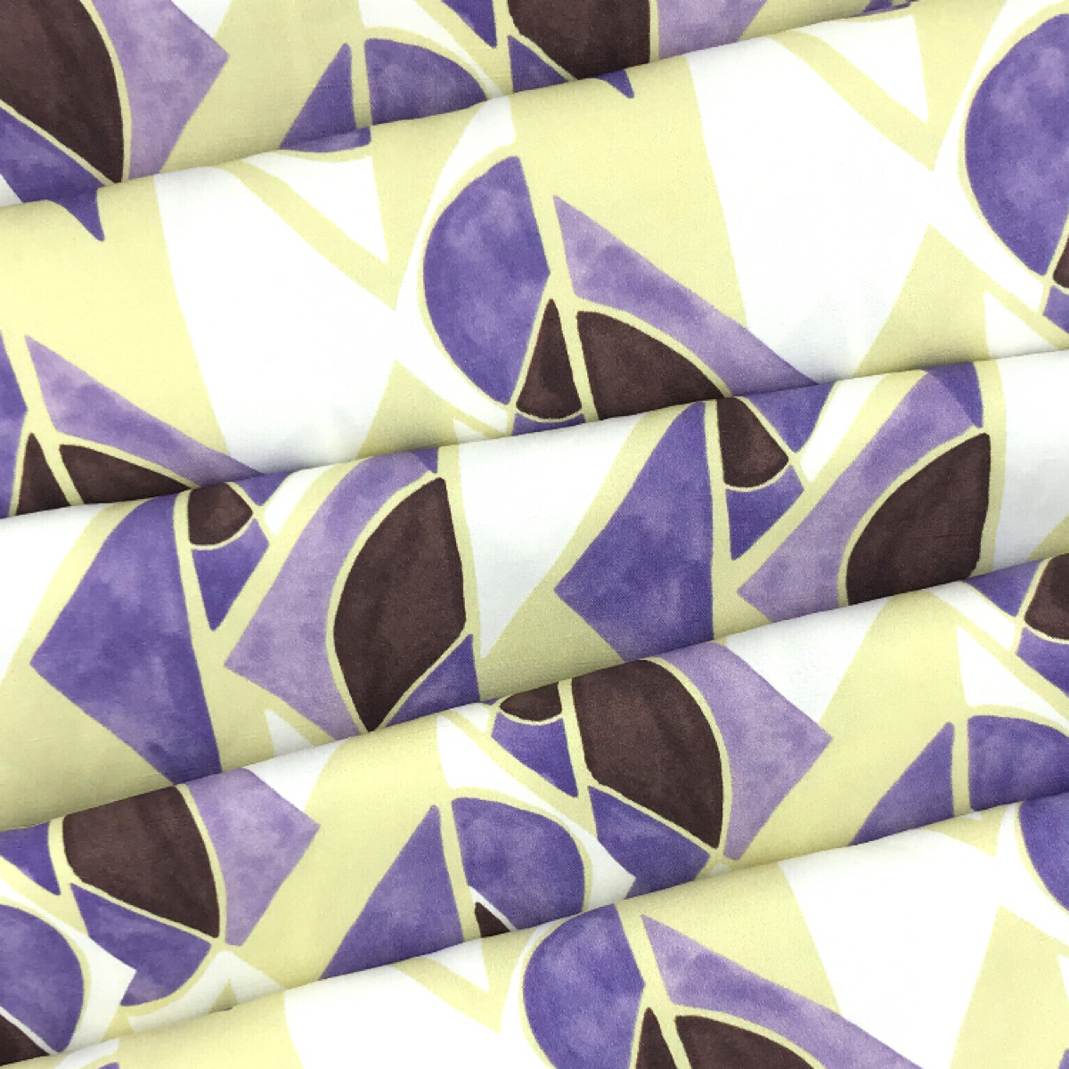 Abstract Green, Purple, and White Printed Woven Textile by Industry by Clerici Tessuto