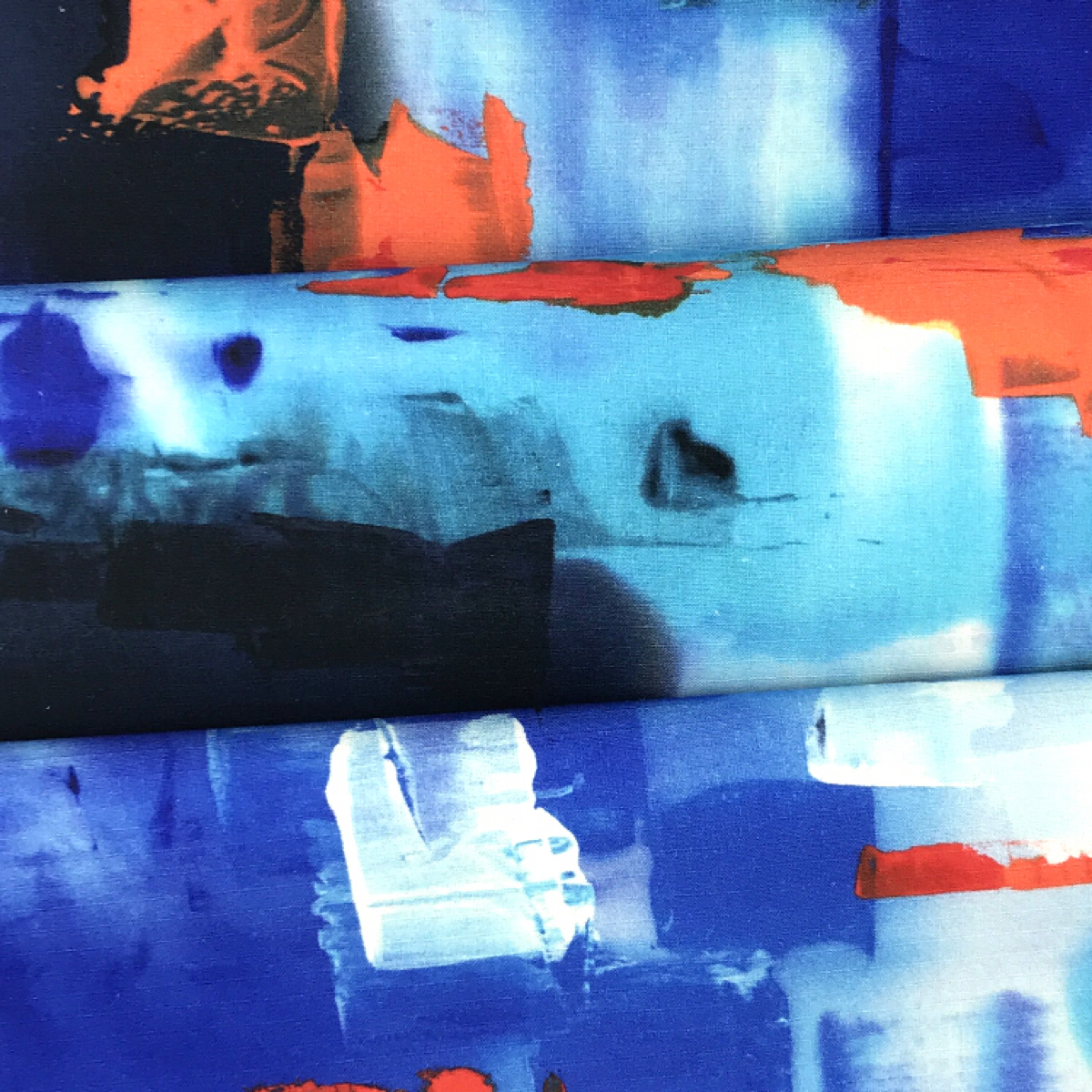 Abstract Painting Blue, White, and Orange Printed Woven Textile by Industry by Clerici Tessuto