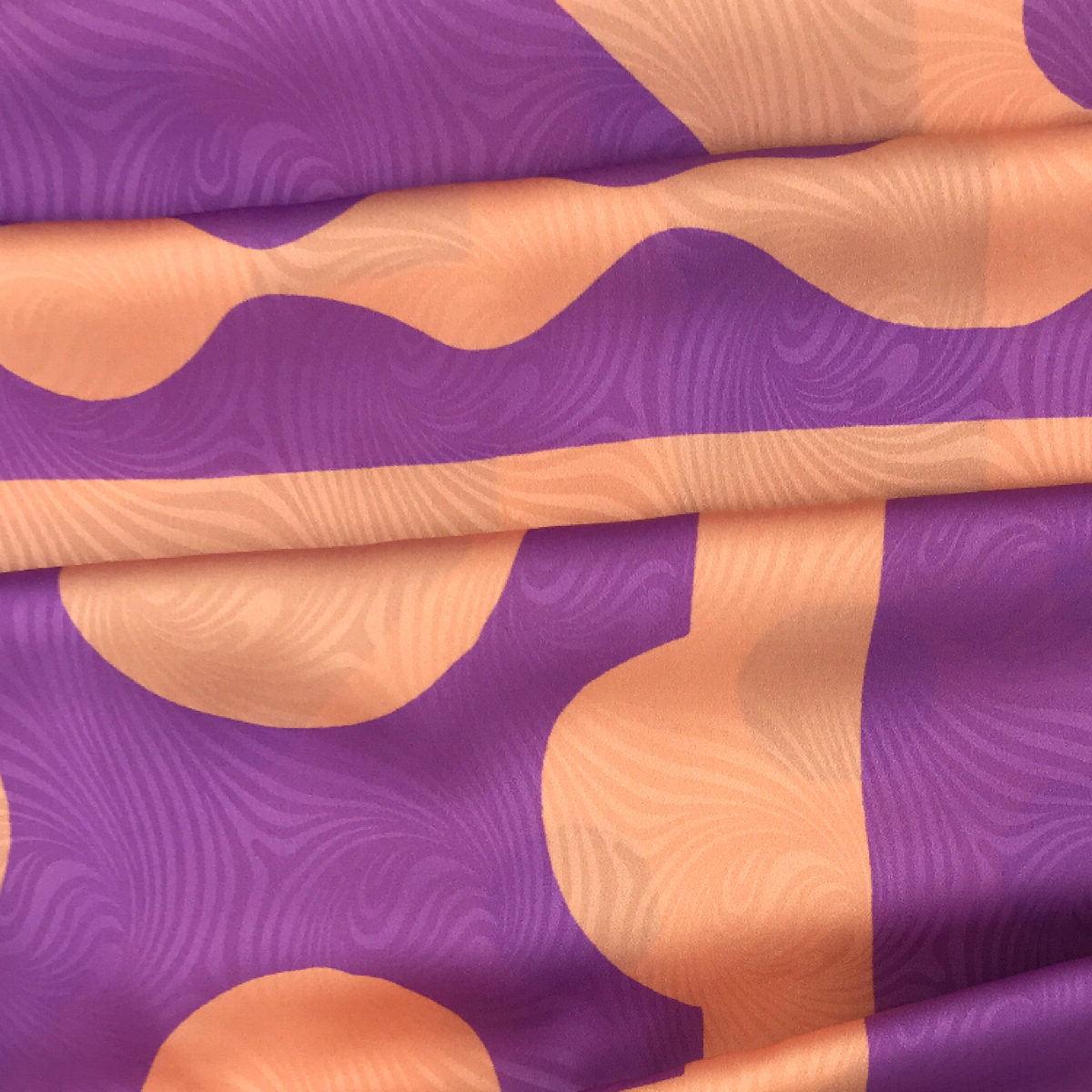 Abstract Shape Orange and Purple Printed Woven Textile by Industry by Clerici Tessuto