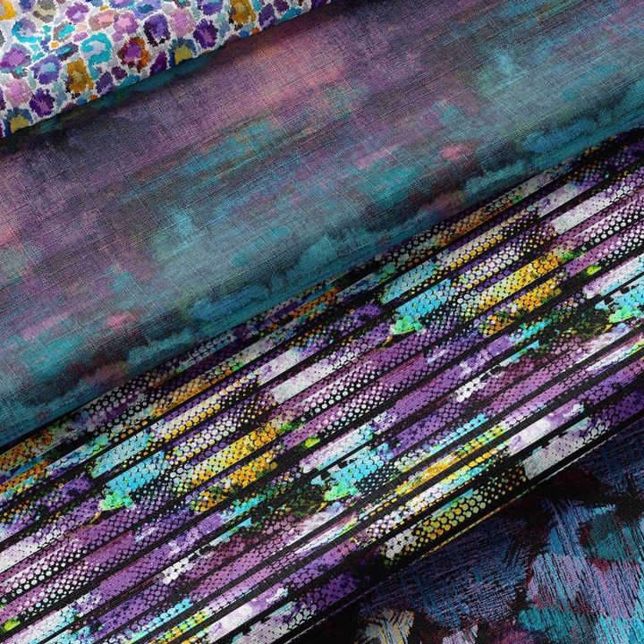 Multicolor textiles by Zeynar featuring shades of purple, cyan, yellow, white, turquoise, and black